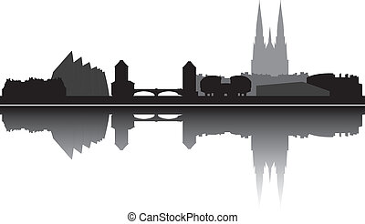 strasbourg skyline france with churches buildings and bridge