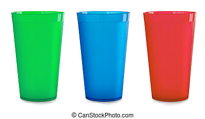 Plastic cups - Three colorfull empty plastic cups isolated...