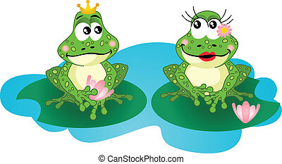 Frogs in love - Scalable vectorial image representing a...