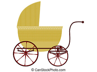 Wicker baby carriage in retro style on a white background.