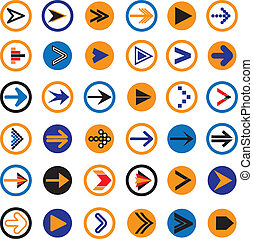 Flat abstract arrow in circles icons, symbols vector...