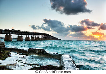 Old Bahia Honda Railroad bridge at sunrise. Florida Keys...