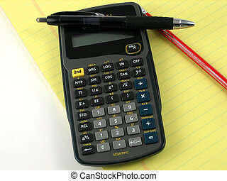 Financial calculations - Checkbook, notepad and calculator...