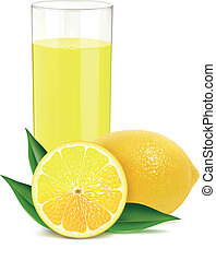 Fresh lemons with leaves and juice