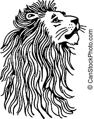 Lion - Simple black and white line drawing of a lions head...
