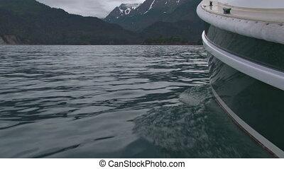 """Alongside Boat 1 - """"A pretty green boat making her way..."""