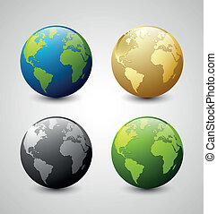 Earth icons - Set of Earth globe icons isolated on light...