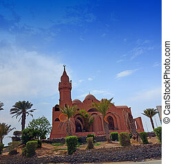 Red Mosque Panoramic image Next to the Jeddah Islamic Port...