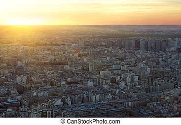 Paris, pôr do sol, aéreo, vista