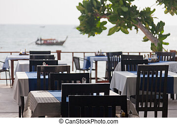 Restaurant verandah overlooking the sea