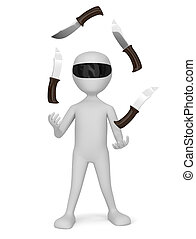 3D small people - juggling with knives. 3D image. On a white...