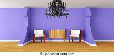 Modern room with black chandelier - Modern room with...
