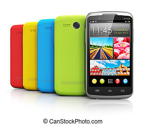 Modern color smartphones - Group of modern color glossy...