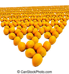 Crowds dates A large number of yellow dates White background
