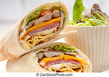 club sandwich pita bread roll - fresh and healthy club...