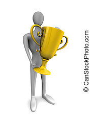 person with a gold trophy in hands - 3d person with a gold...