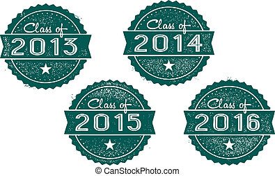 Class of 2013, 2014, 2015, 2016 - Vintage style stamps for...