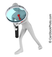 person holding a magnifier looking for something