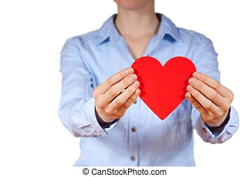 person holding a heart - a person with blue shirt holding a...