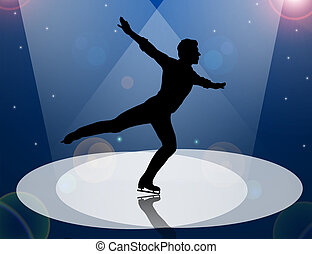 Figure Skater man in Spotlight - Male Figure Skater...