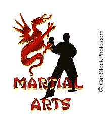 marcial, artes, logotipo, gráfico, isolado
