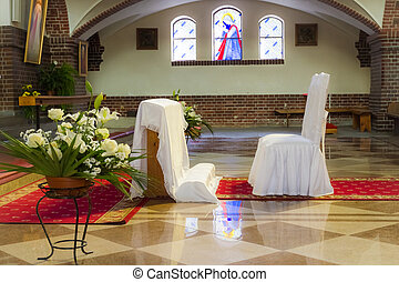 ceremonia, Antes, iglesia, boda
