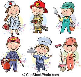 profesiones, niños, Conjunto, 3