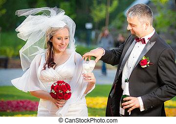 Young couple celebrating wedding