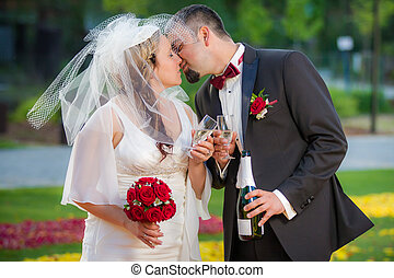 Young couple in love Celebration in garden
