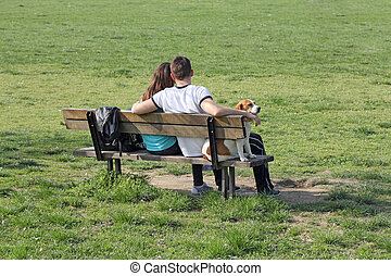 Young couple on bench