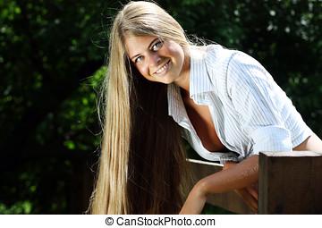 Beautiful sexy blonde woman