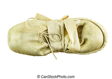 used ballet shoes - used folded ballet shoes isolated on...