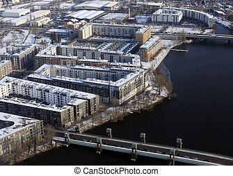Aerial view of Berlin - Aerial view of suburb Berlin,...
