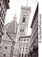 Doumo Cathedral Church, Florence, Italy in Black and White...