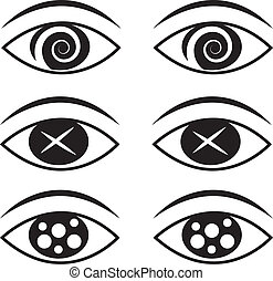 Eyes Symbols 2  - Eyes with various symbols set 2