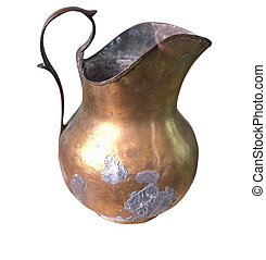 Old copper jug isolated over white
