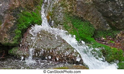 Water flowing over rocks and moss