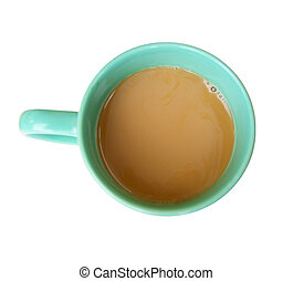 Cup coffee type overhand - Cup coffee on white background is...