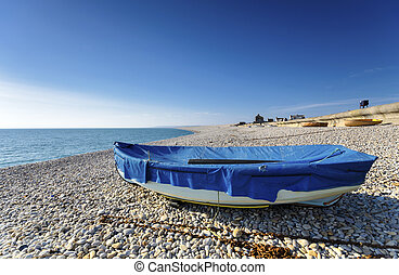 Chesil Beach - Boats at Chesil Cove, part of Chesil Beach on...
