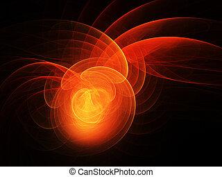 fire dragon spiral rays on dark background