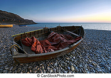 Chesil Cove - Boats at sunset on Chesil Cove, part of Chesil...
