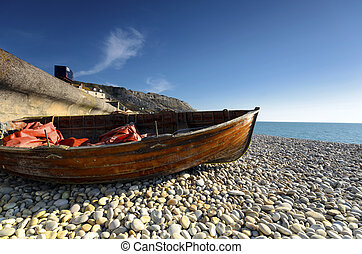 Chesil Cove - Boats at Chesil Cove, part of Chesil Beach on...