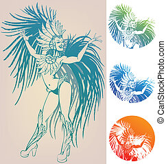 ink linework of smiling pretty young woman in feather carnival costume