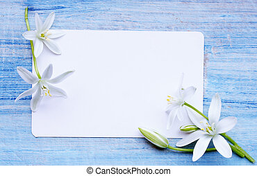 card and white lilies - Greeting card and a bouquet of white...