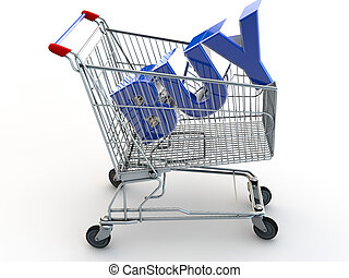 Shopping Cart with the Word BUY in the cart