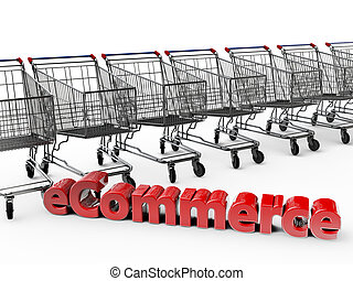 eCommerce with shopping carts in the background