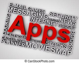 単語, 上に,  apps, 背景, 白, 雲