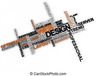 web design word cloud over white background