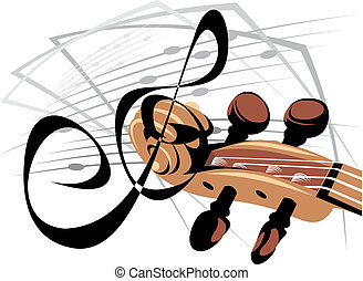 violin song - illustrated violon song isolated on white...