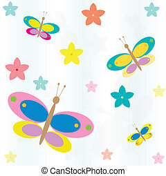 seamless background with flowers and butterflies - seamless...